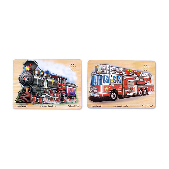 Melissa & Doug Vehicle Sound Puzzle Bundle - Fire Truck And Train