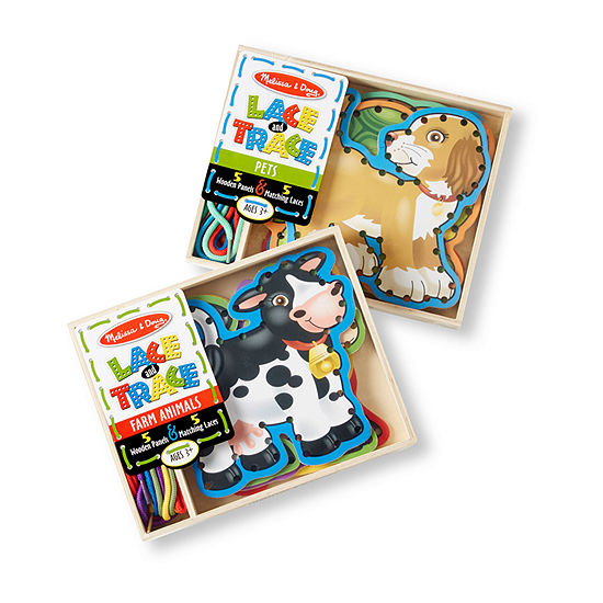 Melissa & Doug Lace & Trace Bundle - Pets And Farm Animals