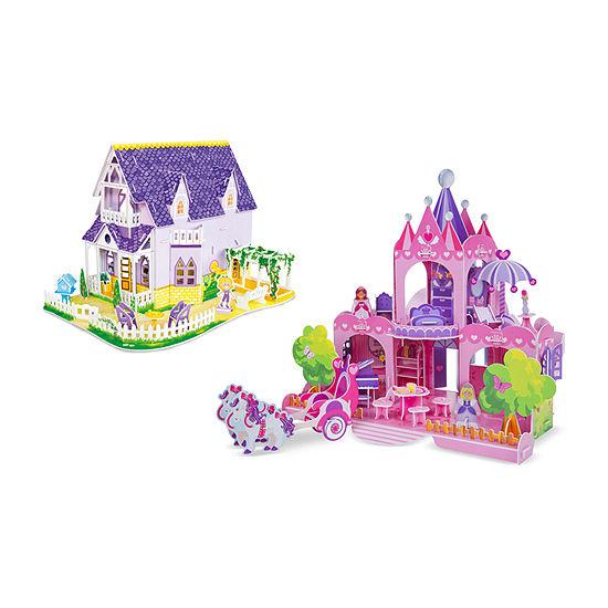 Melissa & Doug 3d Puzzle Bundle - Dollhouse And Palace