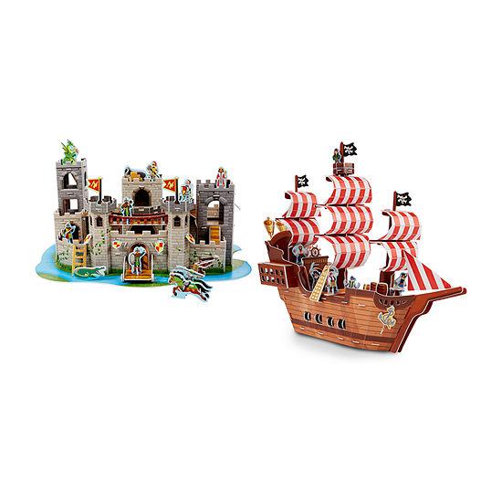 Melissa & Doug 3d Puzzle Bundle - Pirate Ship And Castle
