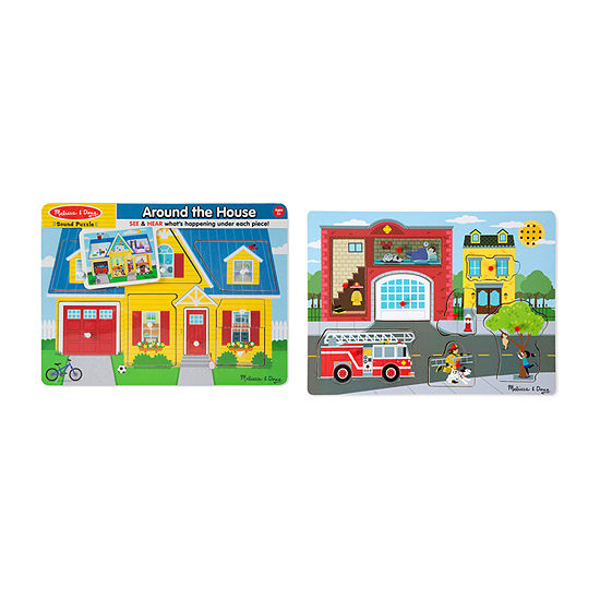 Melissa & Doug Sound Puzzle Bundle (Around The House And Fire Station)