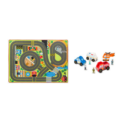 Melissa & Doug® Jumbo Roadway Activity Rug With Vehicles Bundle