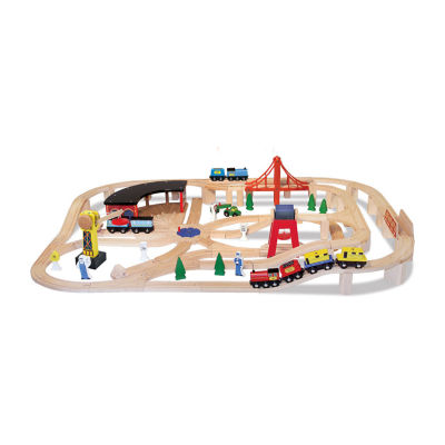 Melissa & Doug®Wooden Railway Set with FREE Wooden Train Cars