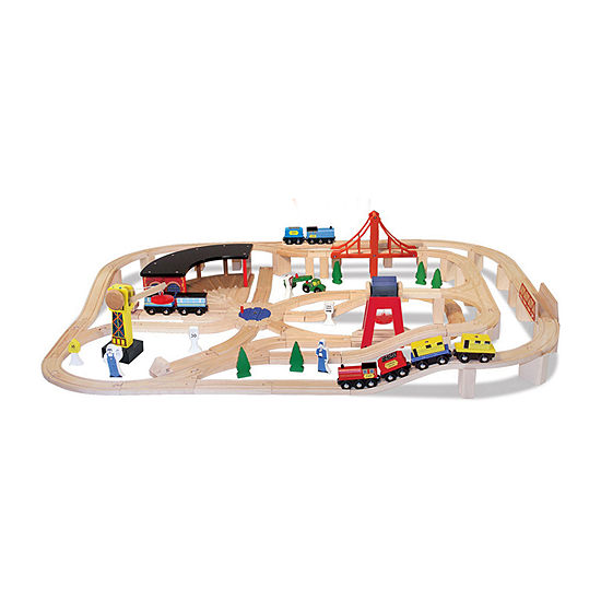 Melissa & Doug Wooden Railway Set With Free Wooden Train Cars
