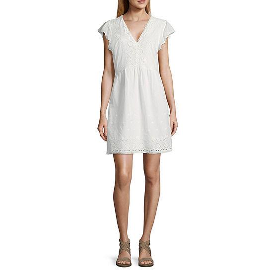 City Triangle Short Sleeve Midi Drop Waist Dress-Juniors