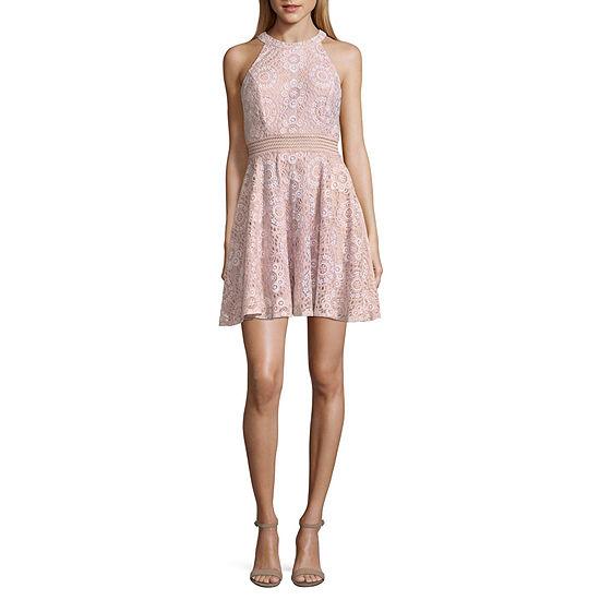 City Triangle Sleeveless Medallion A-Line Dress-Juniors