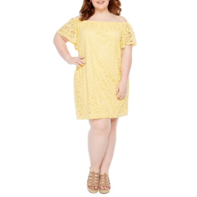 Tiana B Short Sleeve Lace Shift Dress - Plus
