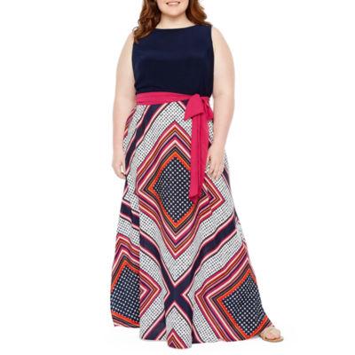 R & K Originals Sleeveless Pattern Maxi Dress - Plus