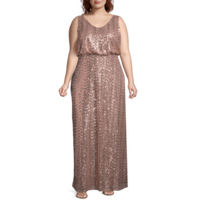 Blu Sage Sleeveless Sequin Evening Gown - Plus