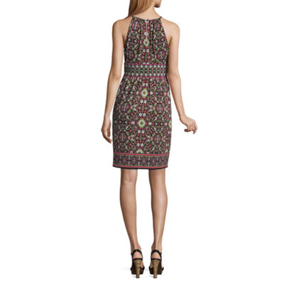 London Times Sleeveless Floral A-Line Dress-Petite