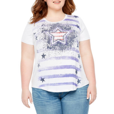 Short Sleeve Crew Neck Americana Tee - Plus