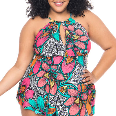 Boutique + Floral Tankini Swimsuit Top-Plus