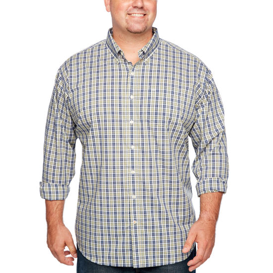 Dockers Long Sleeve Gingham Button-Front Shirt-Big and Tall