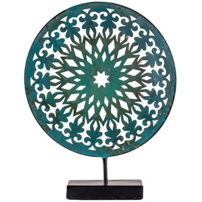 Turquoise Medallion Sculpture on Stand