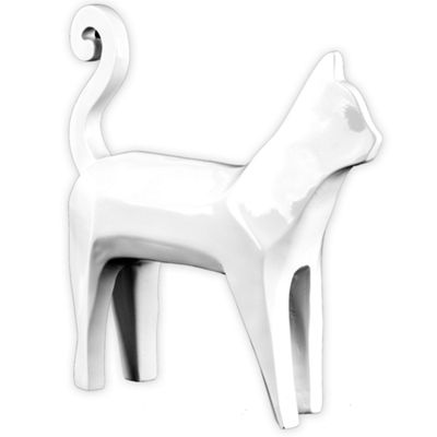 Abstract Cat White Resin Sculpture