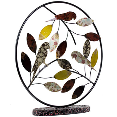 Metal Birds and Leaves Table Top Decor