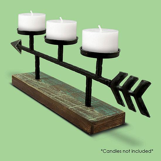 Metal Arrow Wood Candle Holder Candelabra