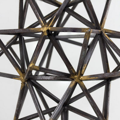 Geometric Metal Star Figurine on Stand