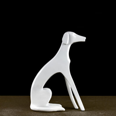 White Resin Abstract Sculpture Dog