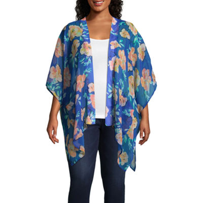 Arizona 3/4 Sleeve Floral Kimono-Juniors Plus