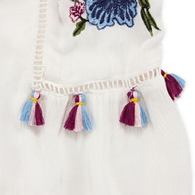 Arizona Embroidered Cold Shoulder Tassel Blouse- Juniors Plus