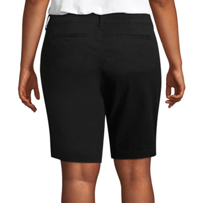 "Arizona 9"" Twill Bermuda Shorts-Juniors Plus"