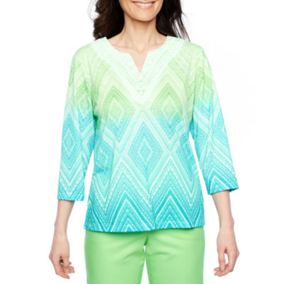Alfred Dunner Turks And Caicos 3/4 Sleeve Ombre T-Shirt-Womens