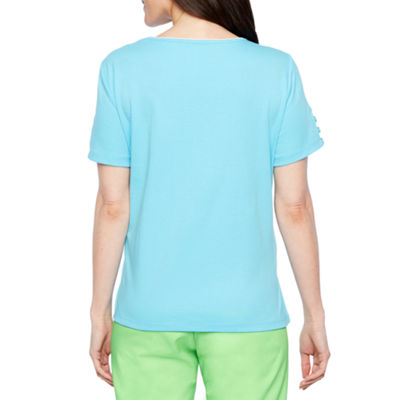Alfred Dunner Turks And Caicos Short Sleeve Crew Neck T-Shirt-Womens Petite