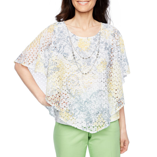 Alfred Dunner Charleston Short Sleeve Crew Neck T-Shirt-Womens Petites
