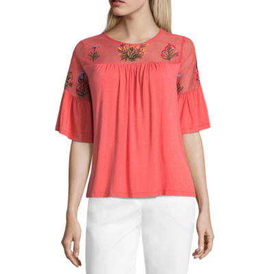 Liz Claiborne 3/4 Sleeve Round Neck Jersey Embroidered Blouse