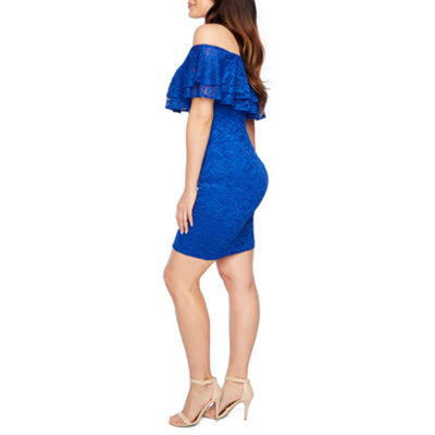 Bold Elements Off The Shoulder Ruffle Lace Dress