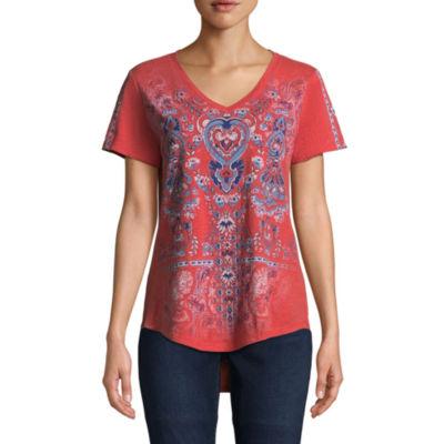 St. John's Bay Active-Womens V Neck Short Sleeve T-Shirt