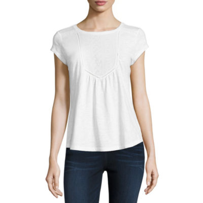 Liz Claiborne Short Sleeve Round Neck Embroidered T-Shirt - Womens