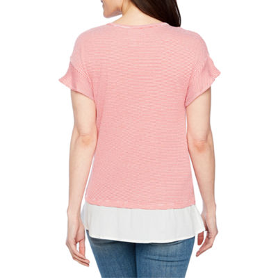 St. John's Bay Long Sleeve Round Neck Knit Blouse-Petites