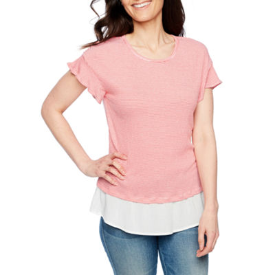 St. John's Bay Short Sleeve Round Neck Knit Blouse-Petite