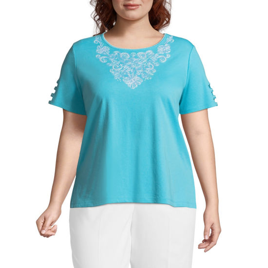 Alfred Dunner Turks & Caicos Embroidered Tee- Plus
