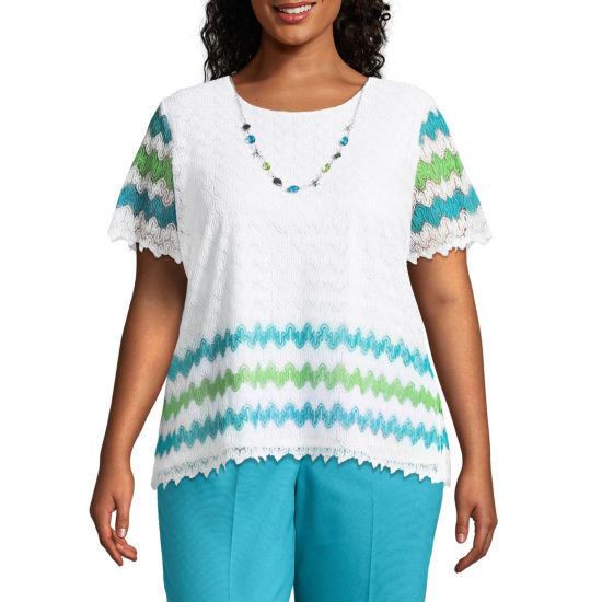Alfred Dunner Turks & Caicos Stripe Border Tee- Plus