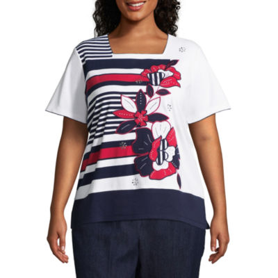 Alfred Dunner America's Cup Floral Stripe Tee- Plus