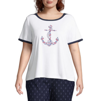Alfred Dunner America's Cup Anchor Tee- Plus