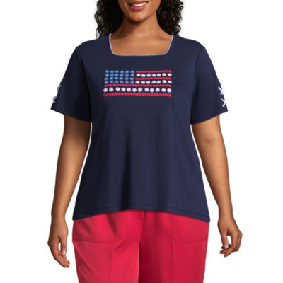 Alfred Dunner America's Cup Flag Tee- Plus