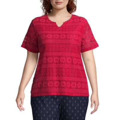 Alfred Dunner America's Cup Lace Tee- Plus