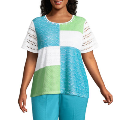 Alfred Dunner Turks & Caicos Patchwork Lace Tee- Plus