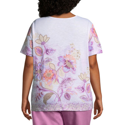 Alfred Dunner Los Cabos Floral Border Tee- Plus