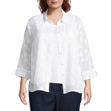 Alfred Dunner America's Cup Star Layered Shirt- Plus