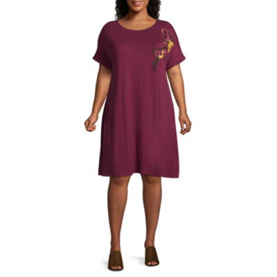 Boutique + Floral Embroidered T-Shirt Dress - Plus