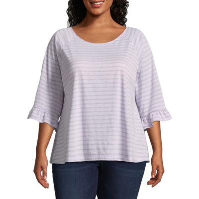 a.n.a 3/4 Sleeve Scoop Neck Knit Stripe Blouse - Plus