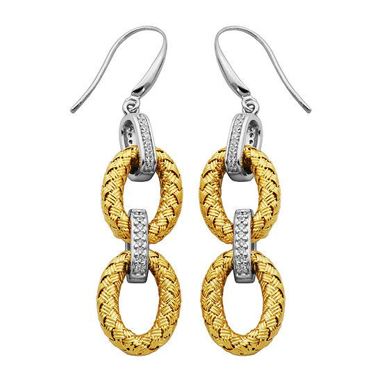 Paris 1901 By Charles Garnier White Cubic Zirconia 18K Gold Over Silver Drop Earrings