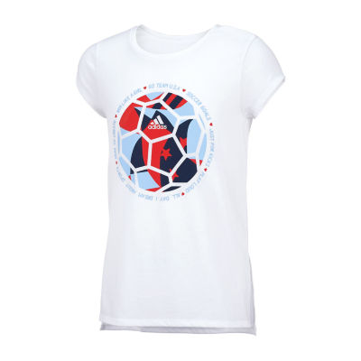 adidas Girls Round Neck Short Sleeve Graphic T-Shirt