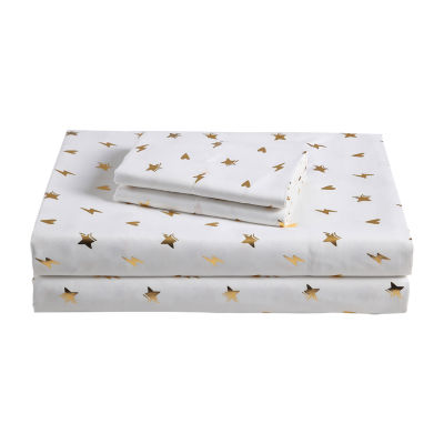 Frank And Lulu Girl Power Metallic Microfiber Easy Care Sheet Set