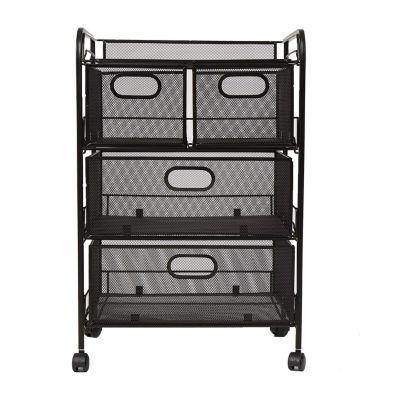 Mind Reader Mesh 4 Drawer Rolling Mesh Office Cart, Metal Storage Drawers, File Storage Cart, Utility Cart, Office Storage Cart, Heavy Duty Multi-Purpose Cart